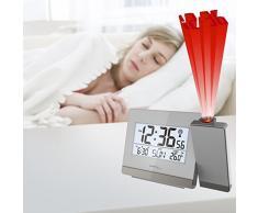 Technoline Wt 538 Radio de proyección reloj despertador con Touch Sensor, plástico, plata/antracita, 15 x 4 x 9 cm
