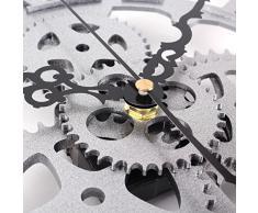 YESURPRISE Reloj Pared Nuevo Creativo Redondo Mudo Números Romanos Engranaje Acrílico Moderno Decoración Hogar Color Plateado