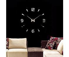 Anself ¡Creativo! DIY Reloj de pared extraíble de dígitos simples del efecto de espejo de acrílico vidrio de decal para la decoración del hogar