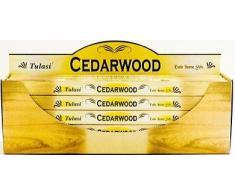 Tulasi - Varillas de incienso con aroma a madera de cedro, lote de 25 paquetes