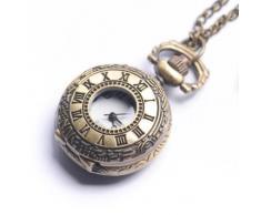 81stgeneration Reloj en Latón Pequeño De Bolsillo Colgante De Collar con Cadena Larga Vintage Números Romanos