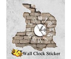 Aliciashouse PAG la etiqueta engomada 3D pared reloj calcomanías fractura grietas pared pegatina Home pared decoración regalo