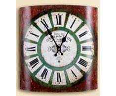Gilde Reloj de pared rústico reloj de cocina Cafe de la Tour Diseño nostálgico, Rojo, 31,5 x 35 cm