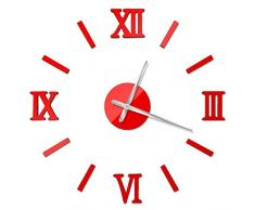 Gweat® DIY Combinación pared de la manera del número romano reloj rojo de la diversión del reloj de pared