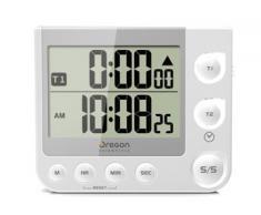 Oregon Scientific TW331W - Temporizador/ cronómetro de cocina con reloj y alerta LED, color blanco