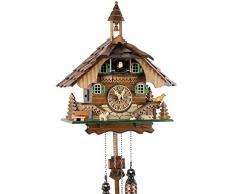 Reloj de cuco de la Selva Negra de madera auténtica con mecanismo de cuarzo a pilas y llamada de cucú - oferta de Uhren-Park Eble - casa de la Selva Negra 32 cm-