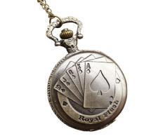 Infinite U Retro Mago/Jugadores de Poker Colgante Reloj de bolsillo de Cuarzo para Mujer/Hombre Collar