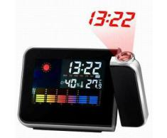 ESTACION METEOROLOGICA - PRITECH - CON PROYECTOR LED COLORES NEON Y RELOJ DESPERTADOR - WEATHER STATION PROJECTION CLOCK - CC-0302 - BAROMETRO HIGROMETRO TERMOMETRO