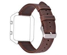 Fitbit Blaze Correa de Reemplazo, Vendimia Cuero Genuino Banda de Reloj para Fitbit Blaze Reloj Inteligente (Tamaño Grande, Café)
