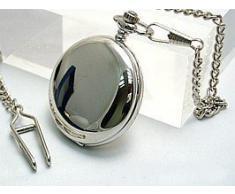 Ravel - Reloj de bolsillo con cadena y tapa, color plateado