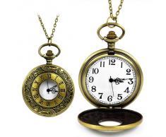 SODIAL(R) Collar Colgante Reloj de Bosillo Antiguo Estilo Romano