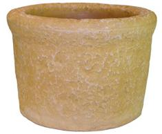 Belli 0908 6 Auge - Macetero redondo con reserva de agua (doble pared), color piedra dorada