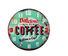 Reloj de pared de metal Retro Delicious Coffee azul 40 cm
