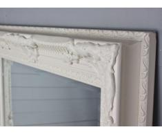 Espejo blanco envejecido. 78 X 68 Cm Madera Nuevo espejo de pared Barroco Espejo Baño