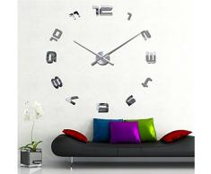 FEITONG Moderno 3D DIY del reloj de pared grande La superficie del espejo pegatina Home Office Decor (plata)