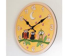 Perla pd diseño Reloj de pared, de cocina, diseño vintage, Diámetro aprox. 28 cm, madera, búho