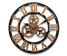 Aliciashouse 45CM rueda Europea Vintage Gear relojes Retro decorativo reloj casa barra pared decoración de la pared -