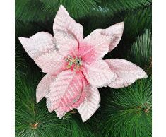 6 piezas 12,7 cm brillantina flores árbol de Navidad Artificial coronas decoración tibertano, rosa