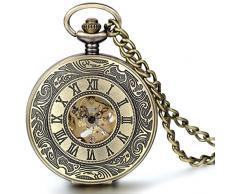 Jewelrywe reloj de bolsillo de cuarzo número romano hueco cubierto collar vintage de bronce de aleación de relojes mecánicos