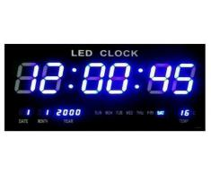 Reloj Reloj Digital LED Reloj De Cuarzo Digital Fecha Temperatura Bar Cafe Kiosko XL Azul