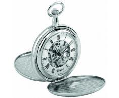 Woodford 1062 - Reloj de bolsillo para hombre con acabado en cromo, dos tapas y cadena (se puede grabar)
