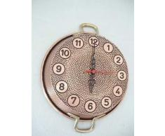 Reloj grande de sartén de cobre bruñido rústico con asas latón 23 cm