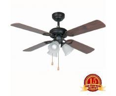 FARO 33102 LISBOA - Ventilador de techo con luz, 4 palas de madera MDF reversibles Diámetro 1070mm Accionado por cadena, color Marrón