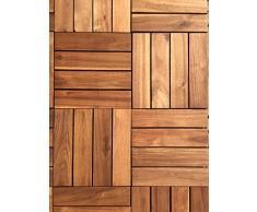 Click-Deck - Láminas de suelo de enganche de madera noble (72 unidades) Azulejos 4 tiras para patio, jardín, balcón, jacuzzi azulejo de 30 cm cuadrado