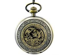 Stayoung Steampunk Antiguo Bronce Números Romanos Cuerda Manual Reloj de Bolsillo Mecánico Retro Colgante Tótem de Dragón Chino