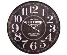 Rústico XXL Reloj de pared est 1863 Old Town Clocks - Marco de metal Vintage Retro Reloj