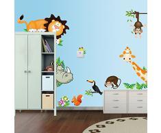 Pegatina de pared vinilo adhesivo decorativo para cuartos, dormitorios,cocina,sala de estar ...Animales juegan en el ZOO con elefante, leon,ardilla, mono ... de OPEN BUY