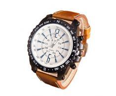 Tongshi Negocios reloj de cuarzo ocasional de los hombres (Café)