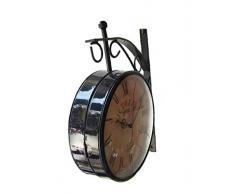 fastyl Negro Redondo (Hierro Vintage doble cara para colgar en la pared reloj 6 x 5,5 x 2.8 Negro