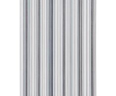 Papel pintado diseño a rayas suntuosas EDEM 097-26 moderno y precioso azul azul claro gris blanco plata negro 5,33 m2