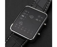 XIN&ZA Reloj Pulsera Unisex de LED Binario con Correa de Cuero PU (Negro)