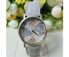 Reloj unisex estilo de mapa mundial / vendimia mapa del mundo / mapa del mundo antiguo / reloj de señoras / las mujeres de imitación de ( Color : Marrón )