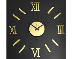 Bluelover 3 colores romana Digital DIY pared arte Home decoración pared reloj - oro
