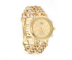 Ecloud Shop Reloj Pulsera Brazalete Fondo Dorado para Mujer Moda Nuevo