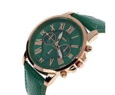 Amsion Marea números romanos de cuero de imitación de cuarzo analógico reloj de las mujeres (verde oscuro)