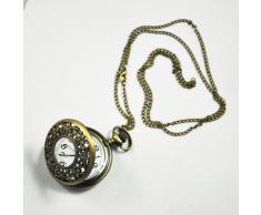"""Gleader Reloj de Bolsillo Estilo Antiguo con 31"""" Cadena en Acabado de Bronce Antiguo (Bateria de Litio Incluida)"""