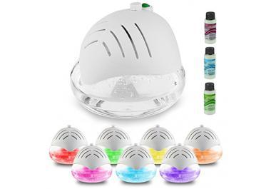AMOS Purificador de Aire Fresco Ambientador Limpiador Ionizador Revitalizador con Luz LED con Colores Cambiantes & 3 x 30ml Esencias Fragancias Aromas (Blanco)