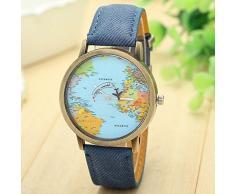 Reloj Longra Nuevo Global Travel Watch Plan Mapa de patrón de reloj de las mujeres Watch Denim Band BK tela(Café)