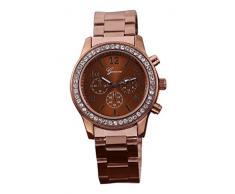 Reloj de mujer - Geneva Cristal Unisexo Acero inoxidable Reloj de pulsera de cuarzo Cafe