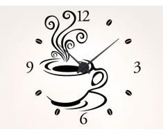 """I-love-adhesivo de 11527 de pared-reloj """"de taza de café con diseño de"""", metal, Schwarz / Uhr Schwarz, 55 x 55cm - Umlauf ca. 44cm"""
