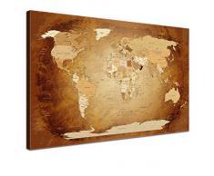 LanaKK® - mapamundi Marrón Colorido con corcho - versión en Inglés, reproducción artística sobre lienzo premium en bastidor, tablón de notas para los trojoamundos, tamaño con bastidor tensado 60 x 40 cm, en una seccione