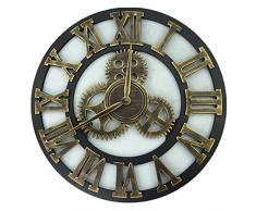 Relojes de pared,Finer Shop Diseño rústico del engranaje del arte de los numerales Reloj de pared Para Home Office Bar Cafe 45cm - Roman Golden
