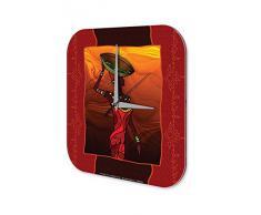 Reloj De Pared Gira Mundial Marke Velo Tarjetas de boda del diseÒo y el sombrero Plexiglas Imprimido 25x25 cm