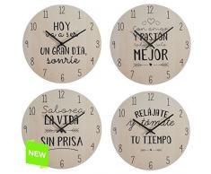 Reloj de pared diseño original frases divertido 4/m madera (Sonrie)