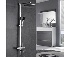 Auralum® Set de ducha cuadrado con grifo termostático KP810 ,plateado