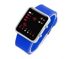 Reloj - SODIAL(R)Unisex De mujer Reloj Hombre Silicona Digital Rojo LED Deportivo Binario pulsera Color Del Articulo:Azul
